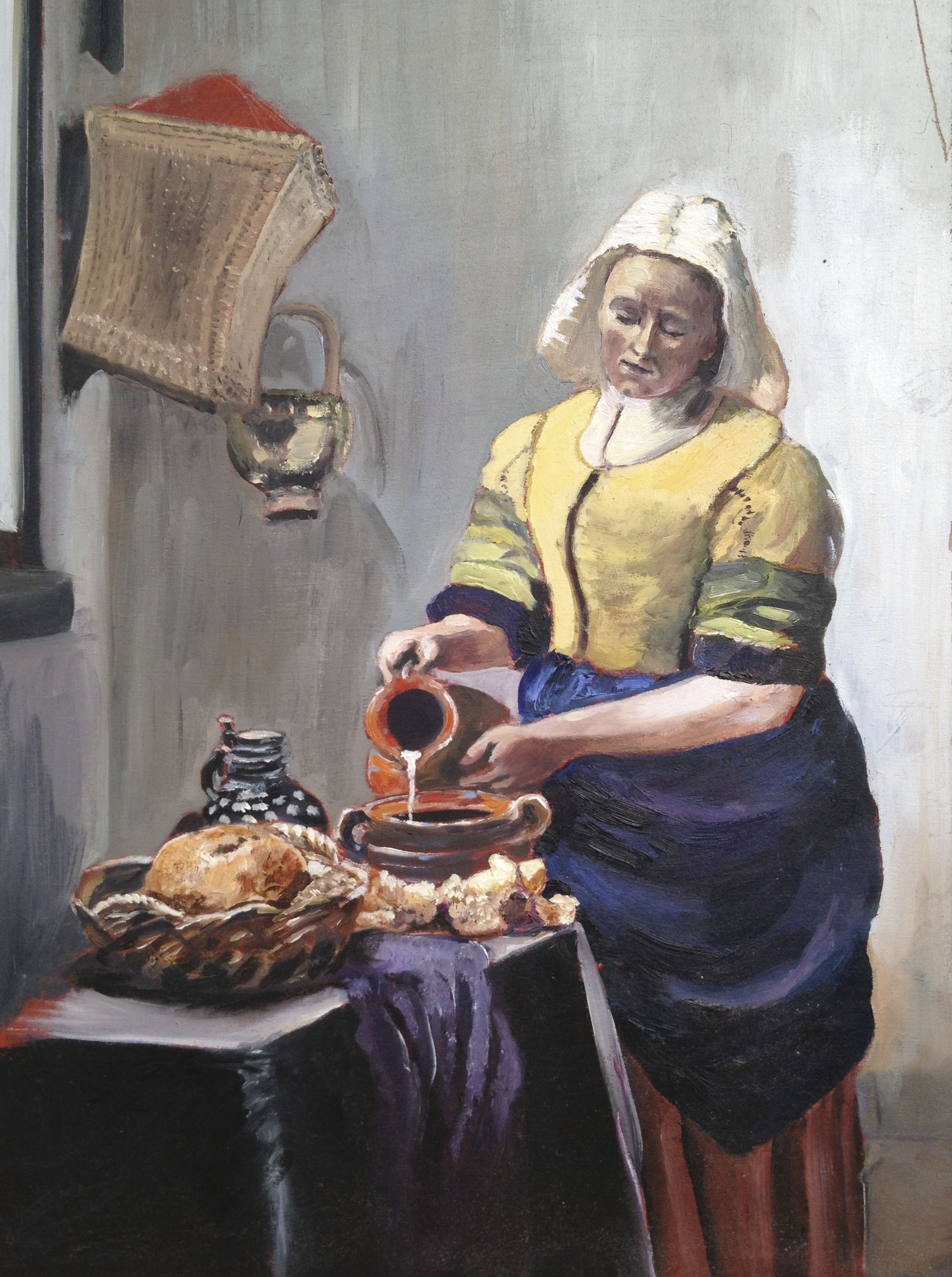 After Vermeer - Oil on Board
