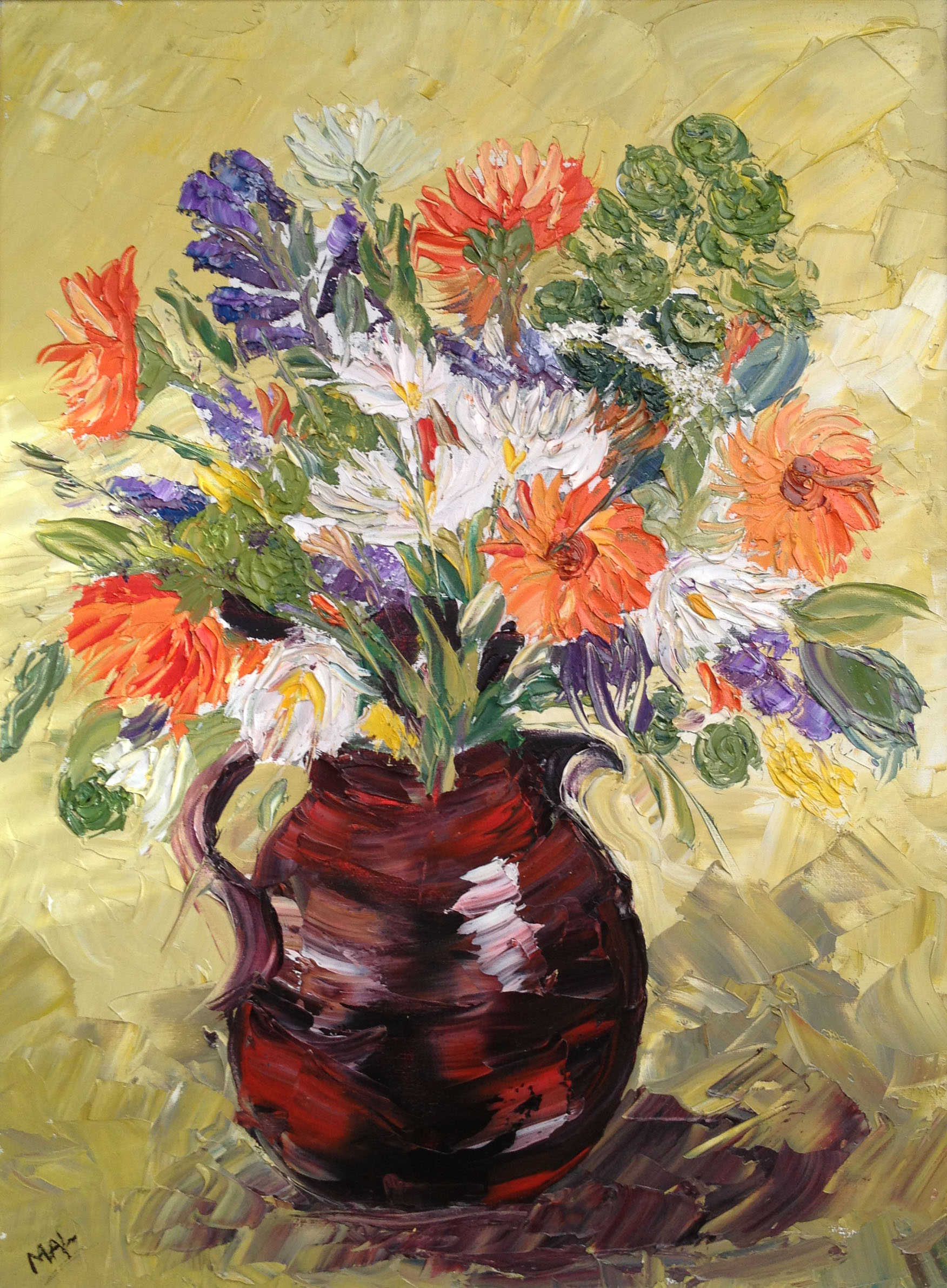 Autumn Flowers - Oil on canvas Knife painting