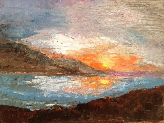 Sunset in Conwy - Oil on Canvas