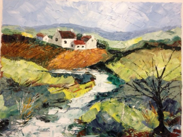 River Cottage - oil on canvas